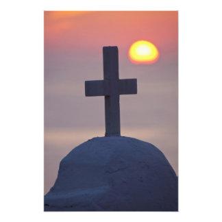 Cruz encima de la iglesia en la puesta del sol, My Impresión Fotográfica