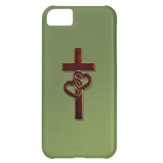 Cruz entrelazada de los corazones carcasa para iPhone 5C