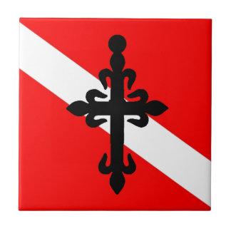 Cruz etíope de la bandera de la zambullida azulejo cuadrado pequeño