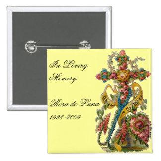 Cruz floral de la condolencia del vintage pin cuadrado