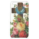 Cruz floral de madera del vintage -