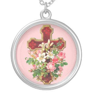 Cruz floral del vintage colgantes