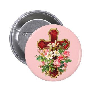 Cruz floral del vintage pin