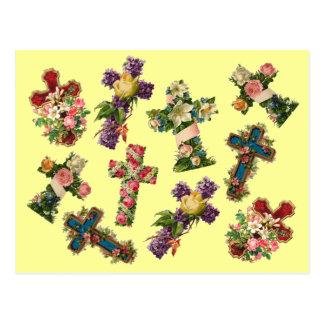 Cruz floral del vintage postal