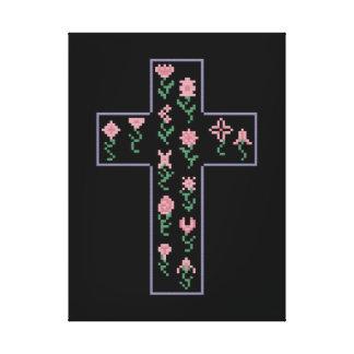 Cruz floral impresiones en lona