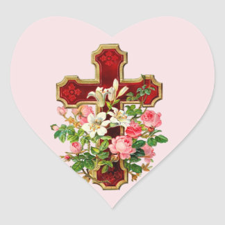 Cruz floral pegatina corazón