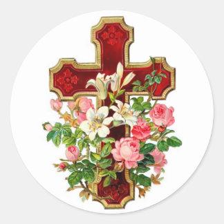 Cruz floral pegatina redonda