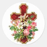 Cruz floral pegatinas redondas