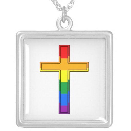 Cruz gay colgante cuadrado