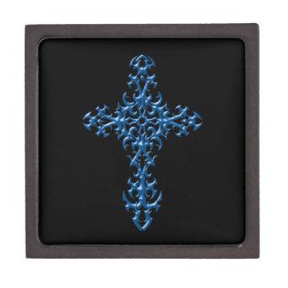 Cruz gótica azul agresiva cajas de regalo de calidad