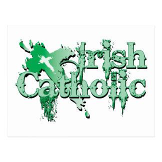 Cruz gótica católica irlandesa postal