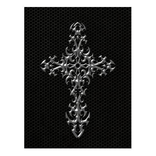 Cruz gótica con el efecto de acero de la malla tarjeta postal