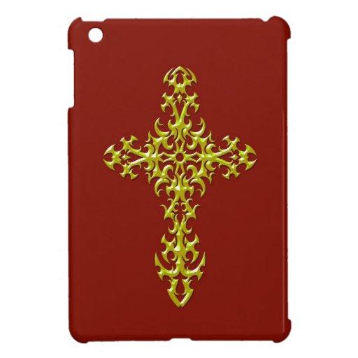 Cruz gótica de acero amarilla en rojo