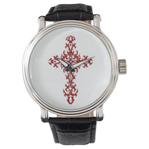 Cruz gótica de acero roja en blanco relojes de pulsera