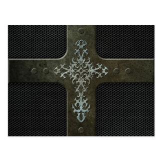 Cruz gótica de la malla de acero industrial tarjetas postales