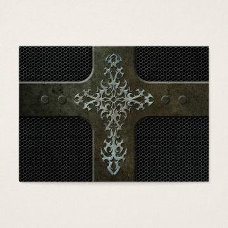Cruz gótica de la malla de acero industrial tarjetas de visita grandes