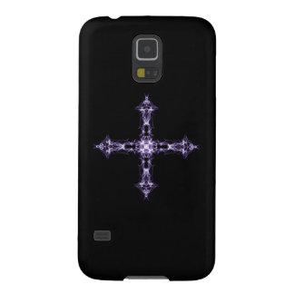 Cruz gótica de la púrpura del fractal carcasa galaxy s5
