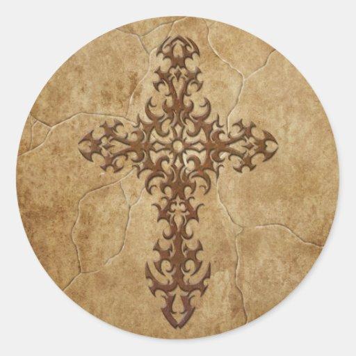 Cruz gótica de piedra pegatina