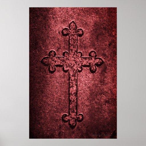Cruz gótica de piedra tallada en rojos posters