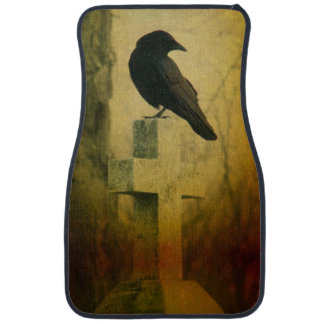 Cruz gótica del cuervo alfombrilla de auto