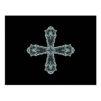 Cruz gótica del fractal en gris postal