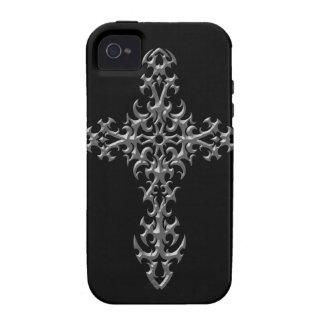 Cruz gótica gris agresiva Case-Mate iPhone 4 funda