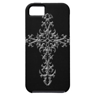 Cruz gótica gris agresiva iPhone 5 carcasas