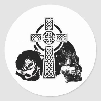 Cruz gótica pegatina redonda
