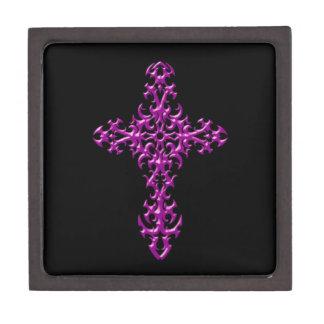 Cruz gótica púrpura agresiva cajas de joyas de calidad