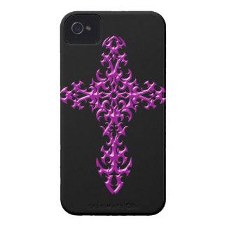 Cruz gótica púrpura agresiva iPhone 4 carcasa