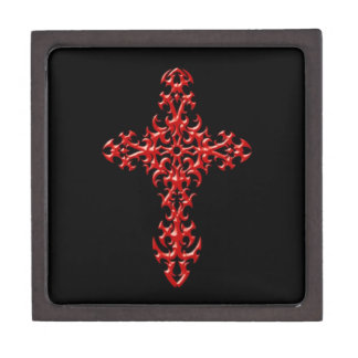 Cruz gótica roja agresiva cajas de joyas de calidad