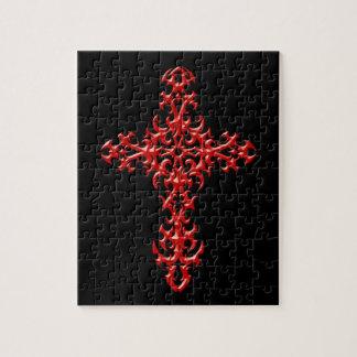 Cruz gótica roja agresiva puzzle con fotos