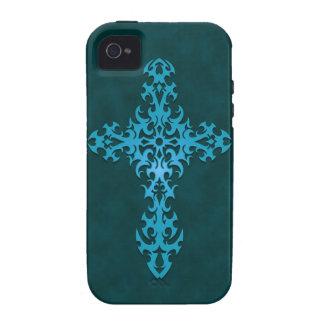 Cruz gótica tribal azul iPhone 4/4S fundas