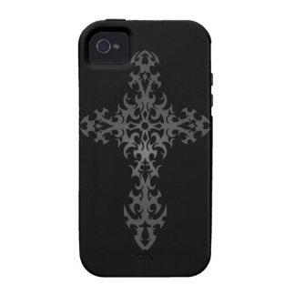 Cruz gótica tribal oscura Case-Mate iPhone 4 fundas
