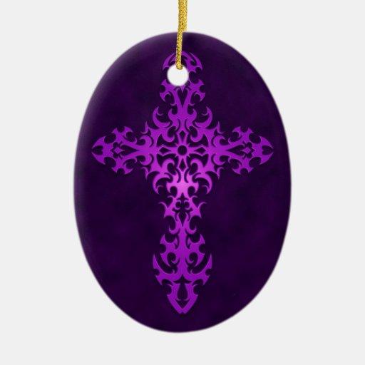 Cruz gótica tribal púrpura ornamentos para reyes magos