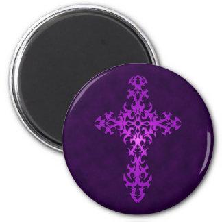Cruz gótica tribal púrpura imán para frigorifico
