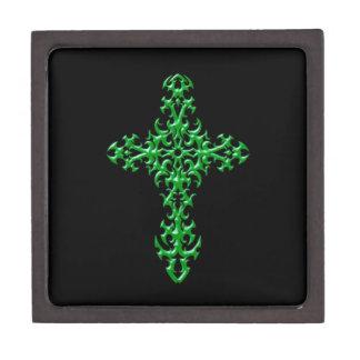 Cruz gótica verde agresiva caja de recuerdo de calidad