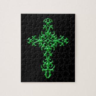 Cruz gótica verde agresiva puzzle con fotos