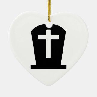 Cruz grave adorno navideño de cerámica en forma de corazón