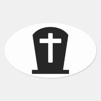 Cruz grave pegatina ovalada