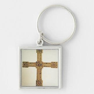 Cruz imperial del Sacro Imperio Romano Llavero Cuadrado Plateado