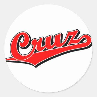 Cruz in red classic round sticker