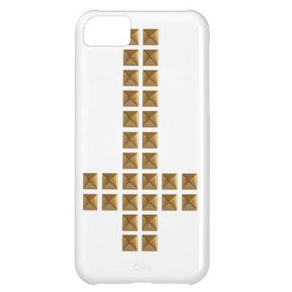 Cruz invertida tachonada oro funda iPhone 5C
