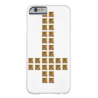 Cruz invertida tachonada oro funda para iPhone 6 barely there