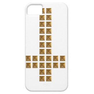 Cruz invertida tachonada oro iPhone 5 fundas