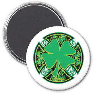 Cruz irlandesa del trébol imán redondo 7 cm