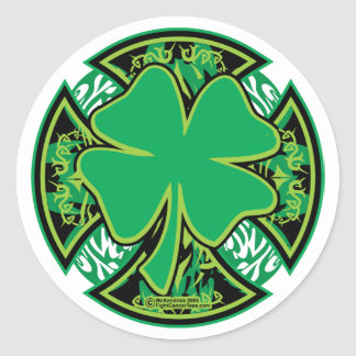 Cruz irlandesa del trébol pegatinas redondas