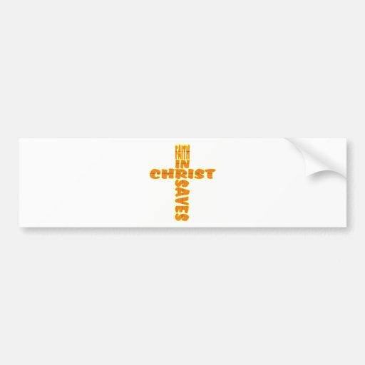 Cruz: La fe ahorra Etiqueta De Parachoque