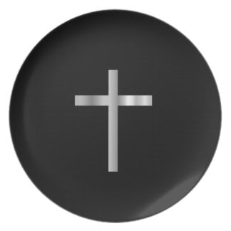 Cruz latina del cristianismo plato de cena