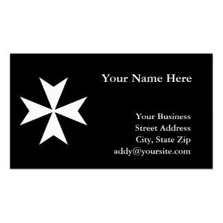 Cruz maltesa blanca tarjetas de visita